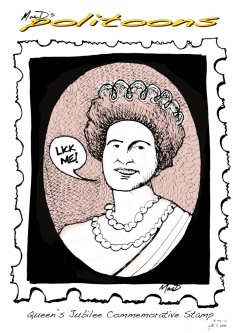 queen elizabeth lick me stamp by macd