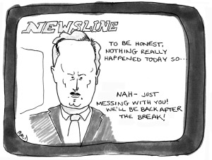 no news broadcast a cartoon by macd